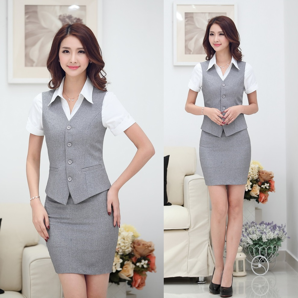 Summer-Fashion-Women-Business-Suits-with-Skirt-and-Top-Sets-Gray-Vest-Waistcoat-Slim-Ladies-Office